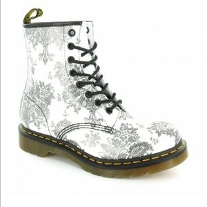 Dr. Martens White and Grey Glitter Flocking Boots